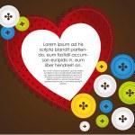 coeur avec boutons de vêtements — Photo