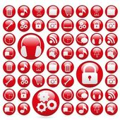 Icon set in red gelatin spheres — Stock Vector