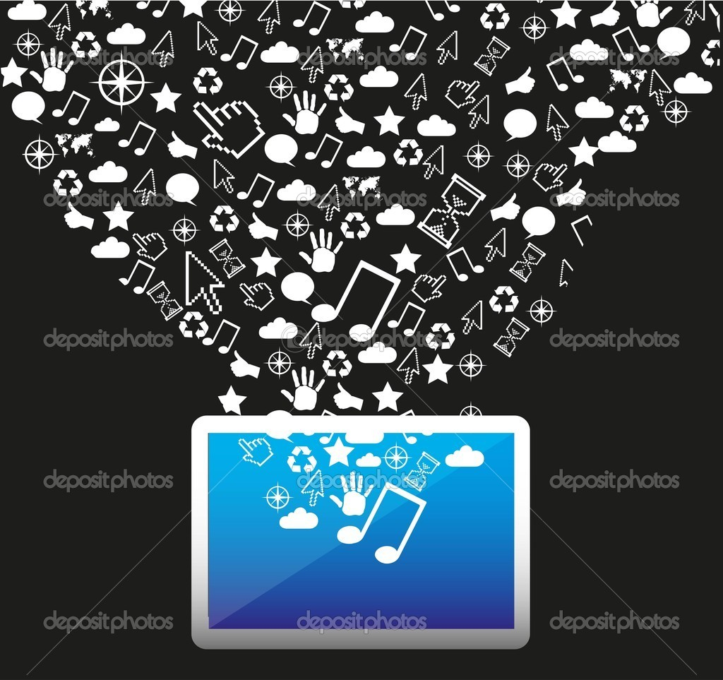 Technological icons out of a tablet, vector illustration — Stock Vector #11576830