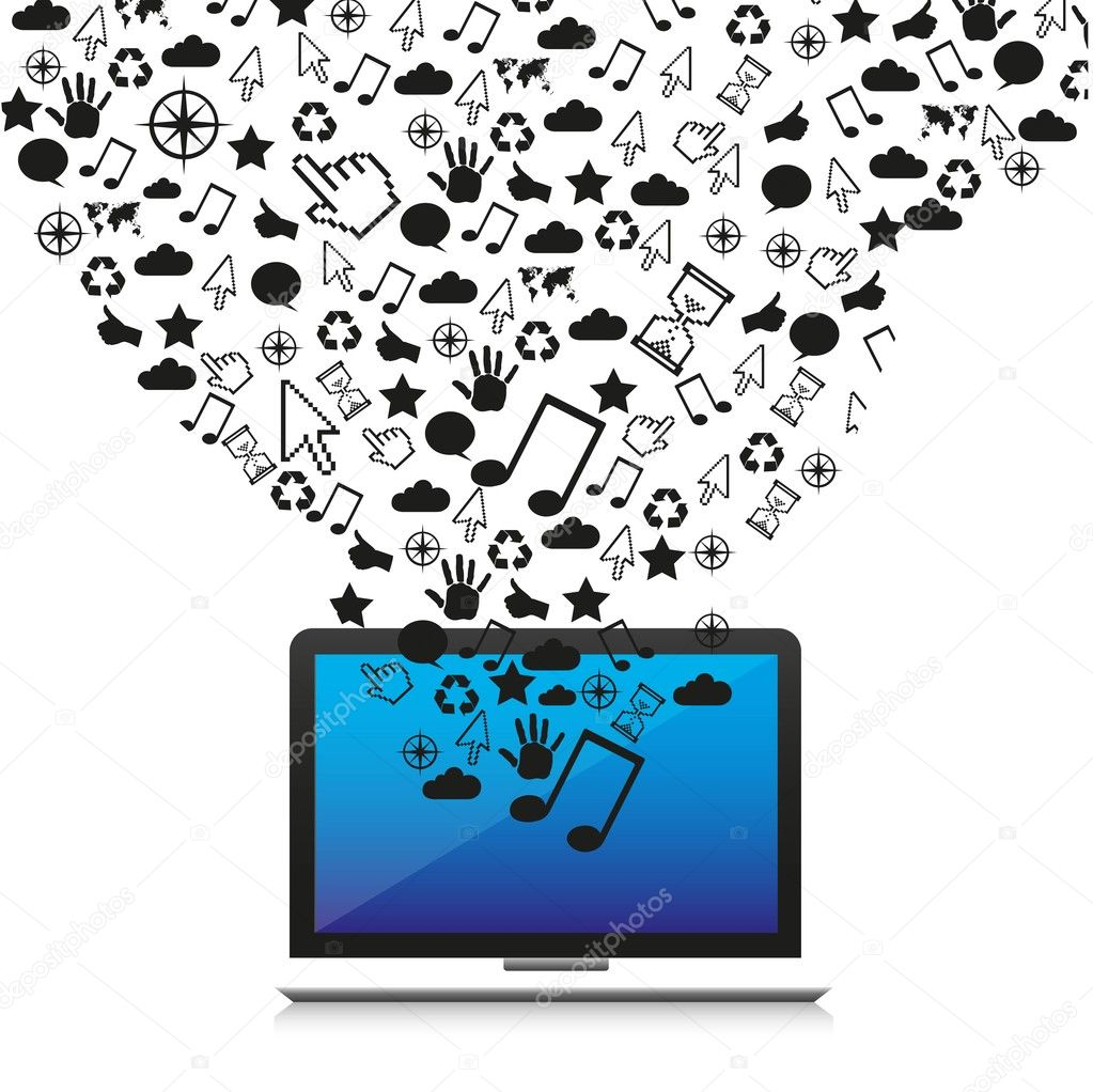 Technological icons out of a laptop, vector illustration — Stock Vector #11576842