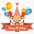 Royalty-Free Stock Vector Image: Birthday card with monkey