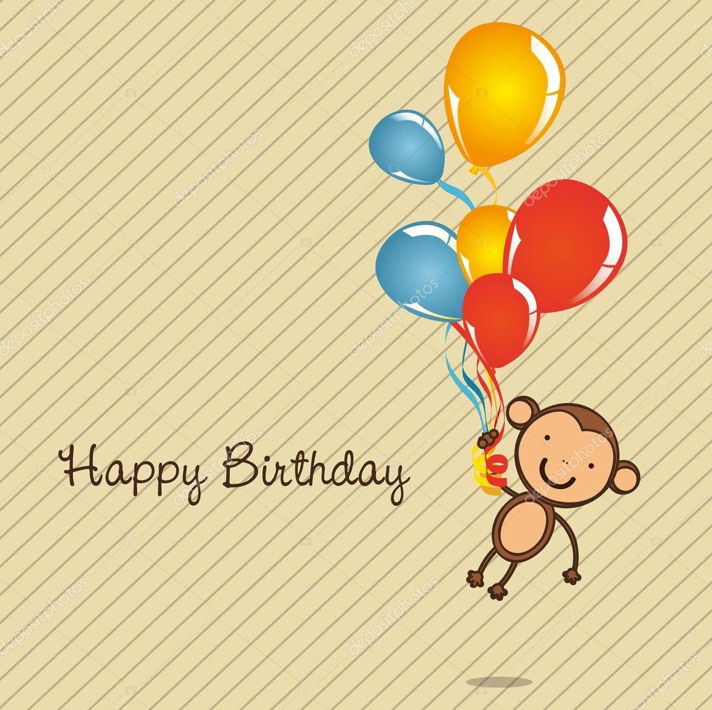 Monkey birthday card Vector grgroupstock 11705222 – Monkey Birthday Card