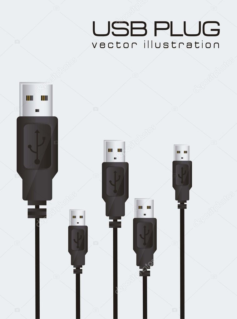 Usb background isolated on blue background, vector illustration — Stock Vector #11705972