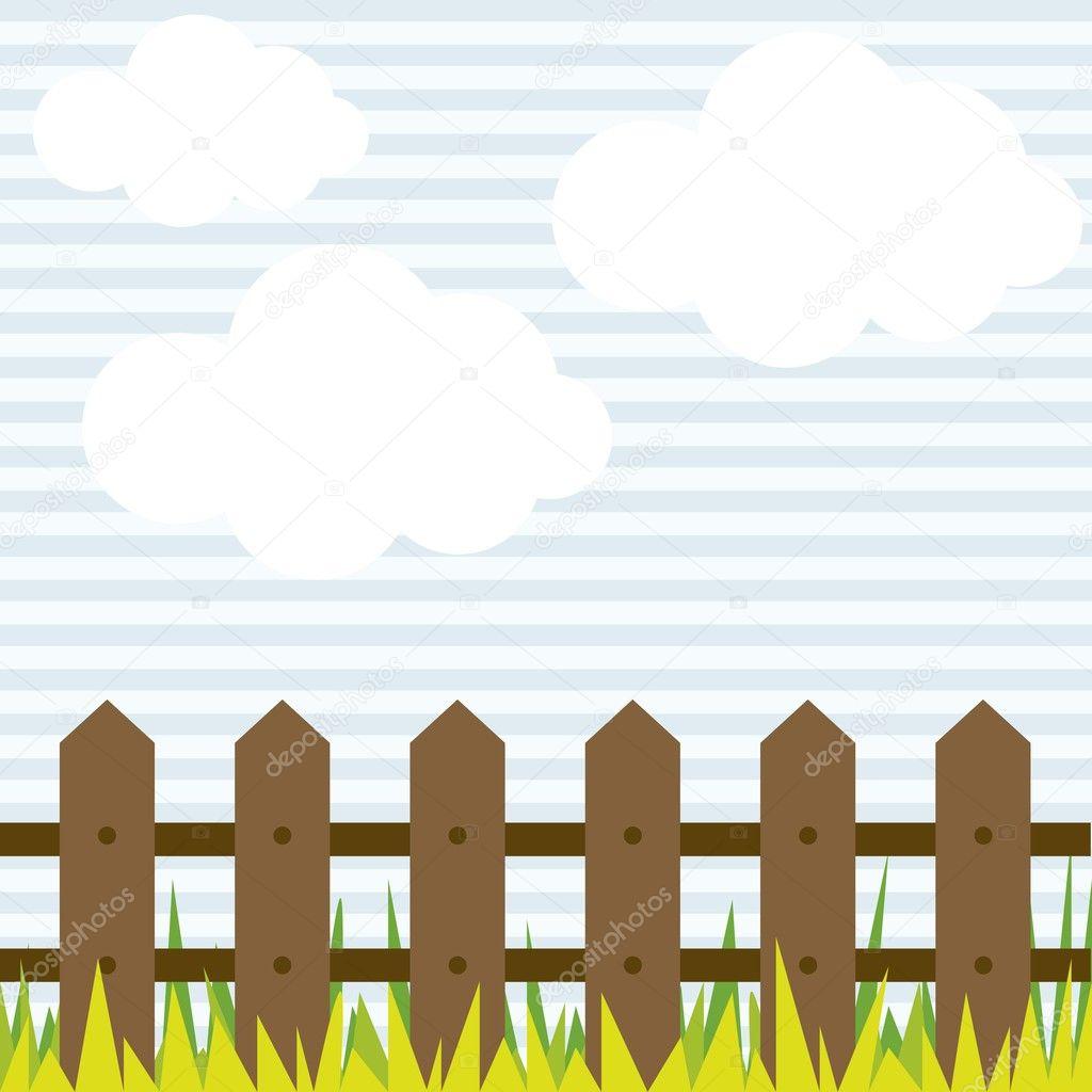 云与栅栏和草,矢量图