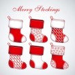 Red Christmas stockings — Vector de stock