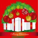 ilustração de visco com presentes de Natal — Vetorial Stock