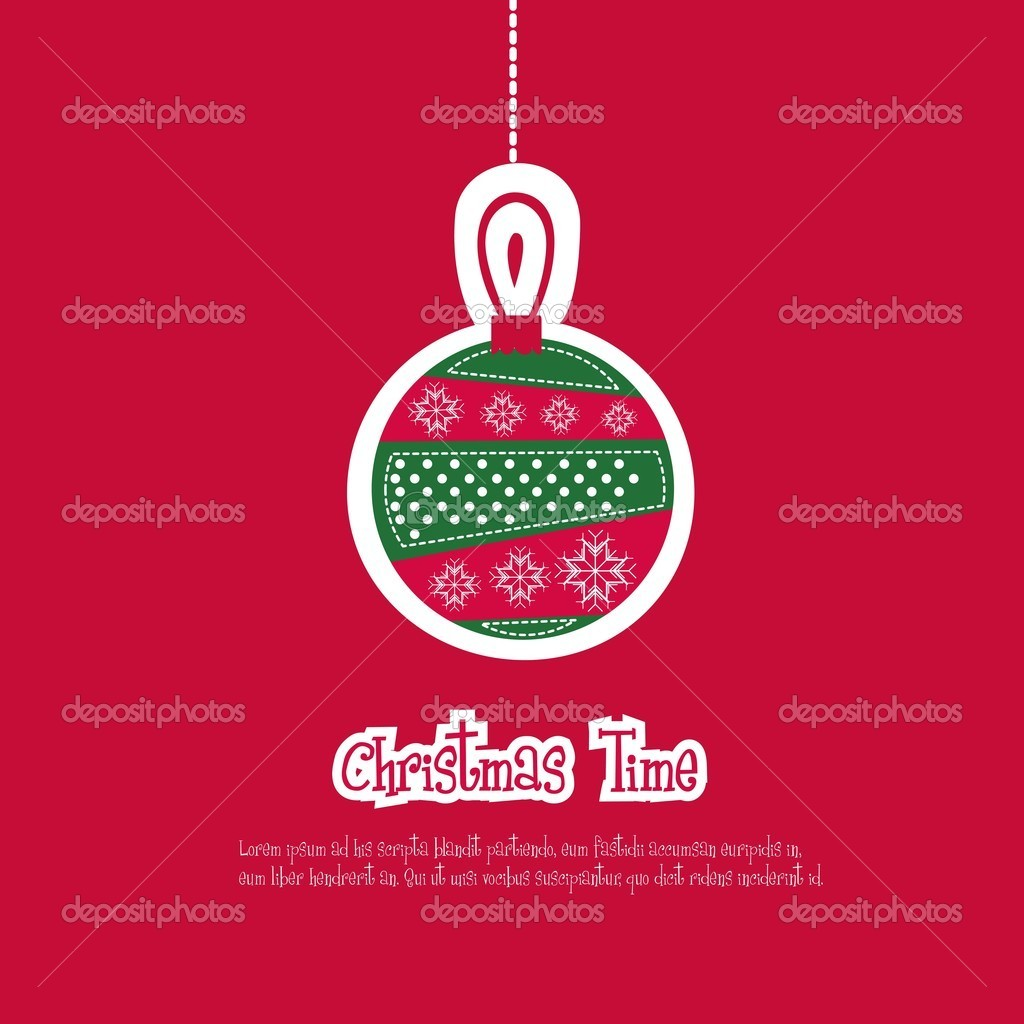 Illustration of red Christmas ball, vector illustration — Stock vektor #12085367