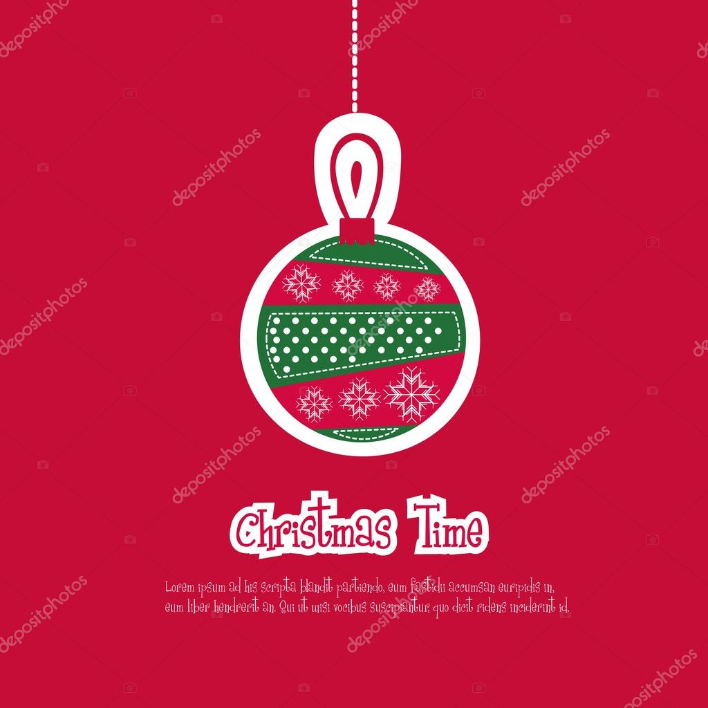 Illustration of red Christmas ball, vector illustration — Stok Vektör #12085367