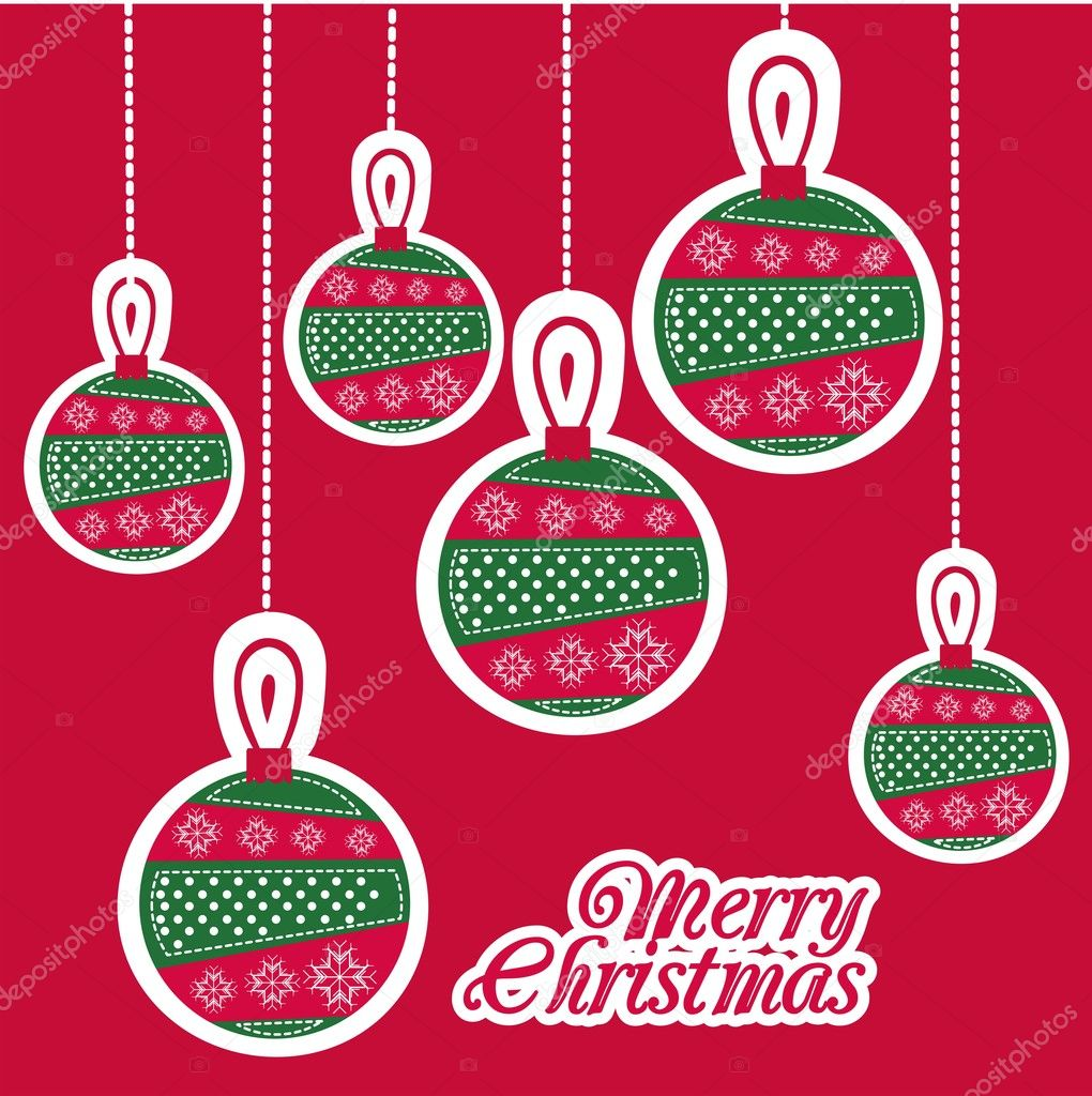 Illustration of red Christmas balls, vector illustration — Stock Vector #12085381