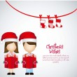 Royalty-Free Stock Vectorafbeeldingen: Kids  with Christmas hat and gift