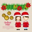 Kids with Christmas hat - Stock Vector