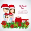 Family with Christmas hats — Stock Vector