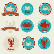 Vintage labels seafood — Stock Vector
