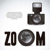 Lens camera and professional camera — Stock Vector