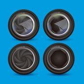 Illustration of camera lens — Stock Vector