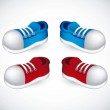 Red and blue shoes — Stock Vector