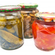 THREE GLASS JARS WITH MARINATED VEGETABLES — Stock Photo