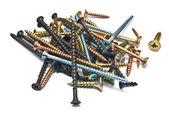 Zásobník různých šroubů — Stock fotografie