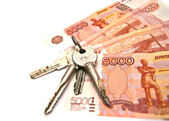 Keys and banknotes — Stockfoto