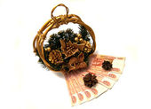 Russian banknotes and Cristmas basket — Stock Photo