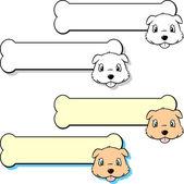 Etiket 2 şeklinde köpek ve kemik — Stok Vektör