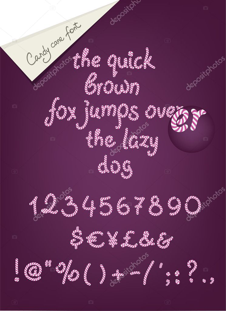 Candy cane alhpabet, numerals and signs for your design — Imagens vectoriais em stock #10775632