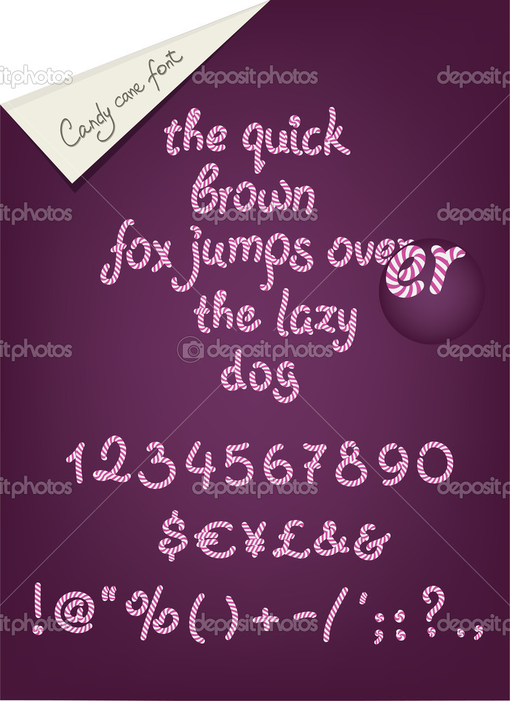 Candy cane alhpabet, numerals and signs for your design  Stockvektor #10775632