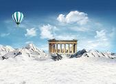 Phartenon, Greek, among the mountains with snow — Stock Photo
