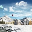 Italian landmarks in the snowfield — Stock Photo