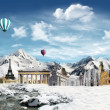 World landmarks in the snowfield - Stock Photo