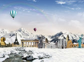World landmarks in the snowfield — Stock Photo