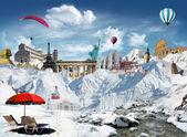 Vue sur la montagne avec les monuments du monde — Photo