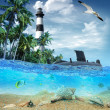 Stock Photo: Submarine near the tropical island with lighthouse in the backgr