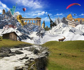 World landmarks with mountain landscape — 图库照片