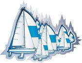 Sailing boats — Stock Vector