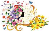 Donna e fiori — Vettoriale Stock
