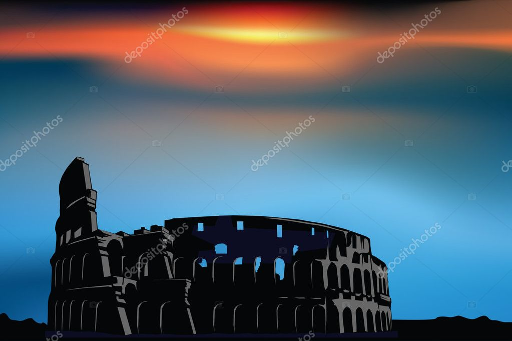 Rome: Colosseum at the sunset — Stock Vector #11957847