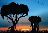 African elephant in the savanna — Stock Vector