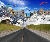 Punti di riferimento mondiale con paesaggio di montagna — Foto Stock