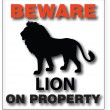 Stock Vector: Beware lion on property