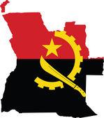 Bandiera e mappa angola — Vettoriale Stock