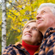 Old couple at nature — Stock Photo #10934425