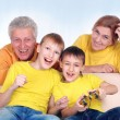 Kids play with grandparents — Stock Photo