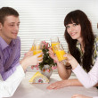 Happy Caucasian group of with the juice of four sitting — Stock Photo