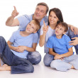 Family in jeans — Stock Photo