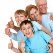 Happy joy grandparents with grandchildren fooled - Stok fotoğraf
