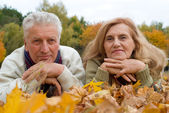 Old couple in the park — Stock Photo