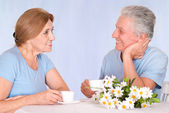 Old couple at table — Stock Photo
