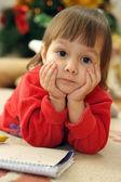 šťastné dítě kreslí — Stock fotografie