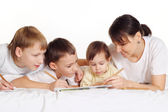 Mom with her children — Stock Photo